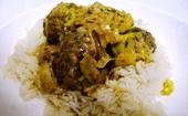 Photo de la recette Boulettes de boeuf à l\'indienne et sa fondue de poireaux